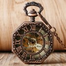Snowflake Octagon Pendant Luxury Rose Gold Mechanical Wind Up Pocket Watch Skeleton Watches
