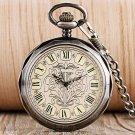 Classic Elegant Vintage Pendant Clock Men Women Open Face Mechanical Hand Winding Pocket Watch