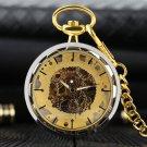 Gold Pocket Watches For Men Transparent Design Hand Wind Mechanical Clock Pendant