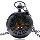 Steampunk Charm Elegant Skeleton Transparent Auto Mechanical Roman Scale Necklace Pocket Fob Watch