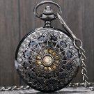 Black Metal Hollow Hand Wind Mechanical Pocket Watch Steampunk Watches Men 30cm Chain