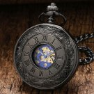 Steampunk Pocket Watch Roman Numbers Dial Mechanical Skeleton Steel Mens Watch