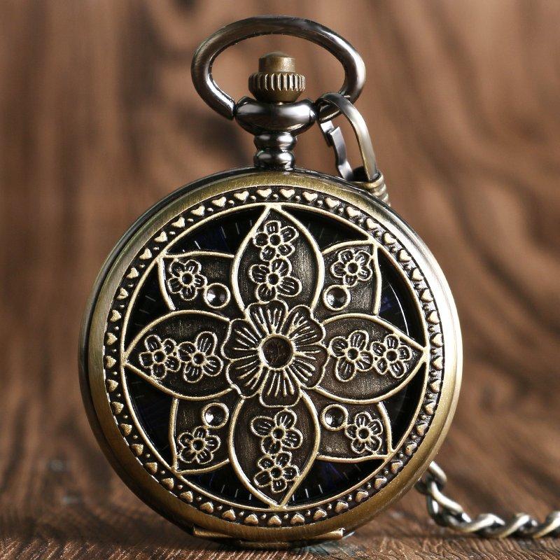 Elegant Lotus Flower Mechanical Hollow Pocket Watch Bronze Copper Hand-winding Women Watch