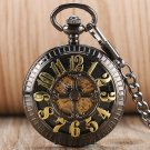 Retro Black Dial Automatic Mechanical Self-wind Mouse Golden Number Hollow Fob Pocket Watch