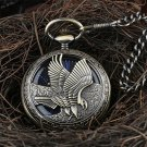 Bronze Hollow Eagle Hand Wind Mechanical Black Dial Blue Roman Numerals Pocket Watch