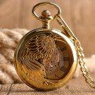 Luxury Golden Skeleton Pendant Phoenix Automatic Mechanical Self Winding Nurse Pocket Watch