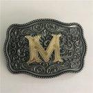 3D Lace Gold M Initial Letter Cowboy Belt Buckle With Metal Men Women Belt Head