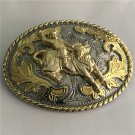 Western Cowboy Belt Buckle With 99*74mm Silver Gold Oval Metal Fashion Men Buckles