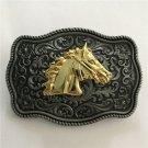 3D Silver Pattern Golden Horse Head Cowboy Belt Buckle With 88*63mm Metal Man Buckle