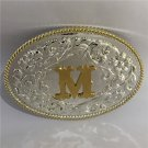 1 Pcs High Quality Oval Cool 3D Gold M Initial Letter Metal Belt Buckle