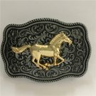 1 Pcs Men's 3D Silver Pattern Golden Horse Metal Belt Buckle