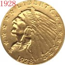 1 Pcs 24-K gold plated 1928 $2.5 GOLD Indian Half Eagle Coin Copy