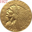 1 Pcs 24-K gold plated 1927 $2.5 GOLD Indian Half Eagle Coin Copy