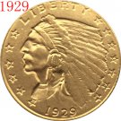1 Pcs 24-K gold plated 1929 $2.5 GOLD Indian Half Eagle Coin Copy