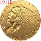 1 Pcs 24-K gold plated 1911-D $2.5 GOLD Indian Half Eagle Coin Copy