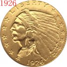 1 Pcs 24-K gold plated 1926 $2.5 GOLD Indian Half Eagle Coin Copy