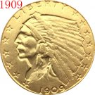 1 Pcs 24-K gold plated 1909 $2.5 GOLD Indian Half Eagle Coin Copy