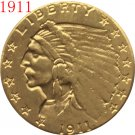 1 Pcs 24-K gold plated 1911 $2.5 GOLD Indian Half Eagle Coin Copy