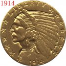 1 Pcs 24-K gold plated 1914 $5 GOLD Indian Half Eagle Coin Copy