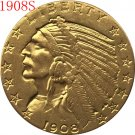 1 Pcs 24-K gold plated 1908-S $5 GOLD Indian Half Eagle Coin Copy
