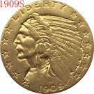 1 Pcs 24-K gold plated 1909-S $5 GOLD Indian Half Eagle Coin Copy