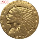 1 Pcs 24-K gold plated 1908 $5 GOLD Indian Half Eagle Coin Copy