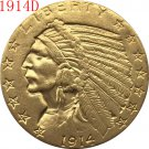 1 Pcs 24-K gold plated 1914-D $5 GOLD Indian Half Eagle Coin Copy