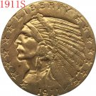 1 Pcs 24-K gold plated 1911-S $5 GOLD Indian Half Eagle Coin Copy