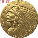 1 Pcs 24-K gold plated 1910-D $5 GOLD Indian Half Eagle Coin Copy
