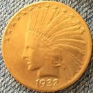 1 Pcs 24- K gold plated 1932 Indian head $10 gold coin COPY