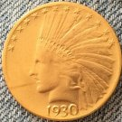 1 Pcs 24- K gold plated 1930-S Indian head $10 gold coin COPY