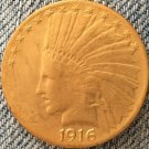 1 Pcs 24- K gold plated 1916-S Indian head $10 gold coin COPY