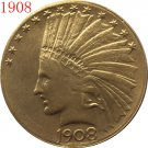 1 Pcs 24-K gold plated 1908 $10 GOLD Indian Half Eagle Coin Copy