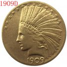 1 Pcs 24-K gold plated 1909-D $10 GOLD Indian Half Eagle Coin Copy