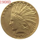1 Pcs 24-K gold plated 1908-D $10 GOLD Indian Half Eagle Coin Copy