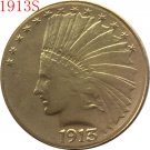 1 Pcs 24-K gold plated 1913-S $10 GOLD Indian Half Eagle Coin Copy
