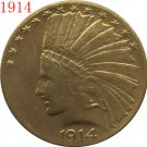 1 Pcs 24-K gold plated 1914 $10 GOLD Indian Half Eagle Coin Copy