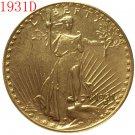 1 Pcs 1931-D $20 St. Gaudens Coin Copy