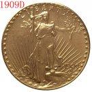 1 Pcs 1909-D $20 St. Gaudens Coin