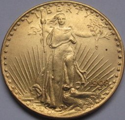 1 Pcs 1908-D $20 St. Gaudens Coin Copy 100% coper manufacturing gold-plated