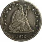 1 Pcs 1872-CC Seated Liberty Quarter Coin Copy