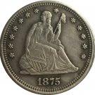 1 Pcs 1875-CC Seated Liberty Quarter Coin Copy