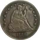 1 Pcs 1886 Seated Liberty Quarter Coin Copy