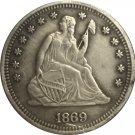 1 Pcs 1869-S Seated Liberty Quarter Coin Copy