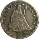 1 Pcs 1887 Seated Liberty Quarter Coin Copy