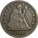 1 Pcs 1882 Seated Liberty Quarter Coin Copy