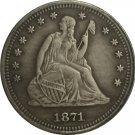 1 Pcs 1871-S Seated Liberty Quarter Coin Copy