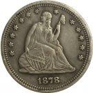 1 Pcs 1878-S Seated Liberty Quarter Coin Copy