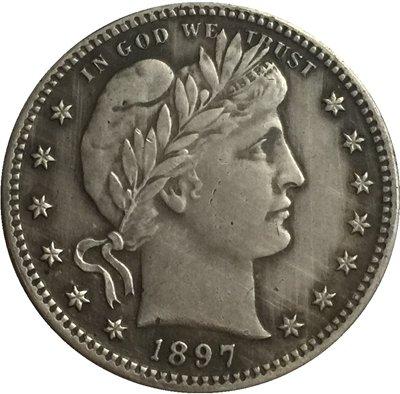 1 Pcs 1897 QUARTER DOLLARS BARBER COINS COPY