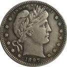 1 Pcs 1897-S QUARTER DOLLARS BARBER COINS COPY
